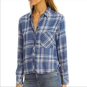 Rails Blue Plaid Chambray Button Down Shirt